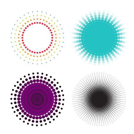 Resumen círculo de semitonos iconos, símbolos y logotipos para su diseño. Ilustración del vector.