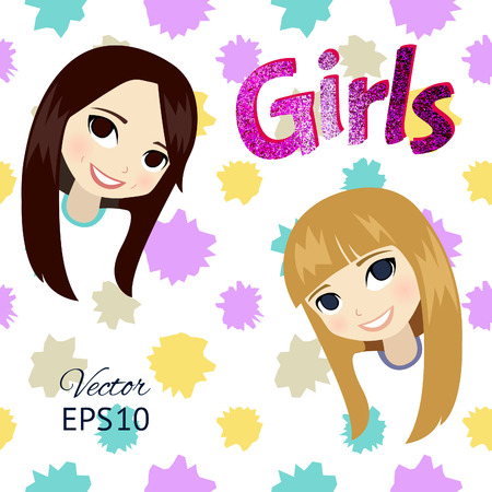 forelock: Two cute cartoon teen girls with brilliant letters. Vector illustration.