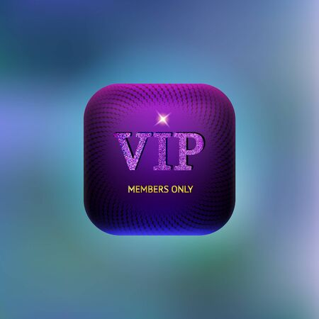 very important person: Very important person glam shine purple icon. Members only. Glamour vector illustration.