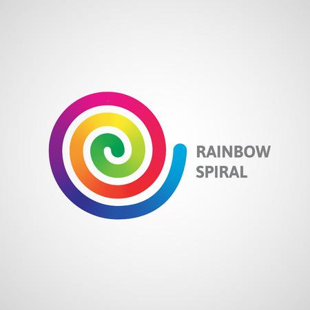 rainbow circle: Spectrum spiral logo. Abstract rainbow dynamic vector illustration. Illustration