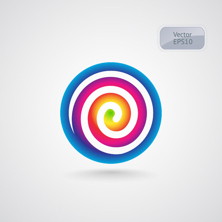 spiral: Lollipop spectrum spiral logo. Rainbow circle vector sign. Illustration