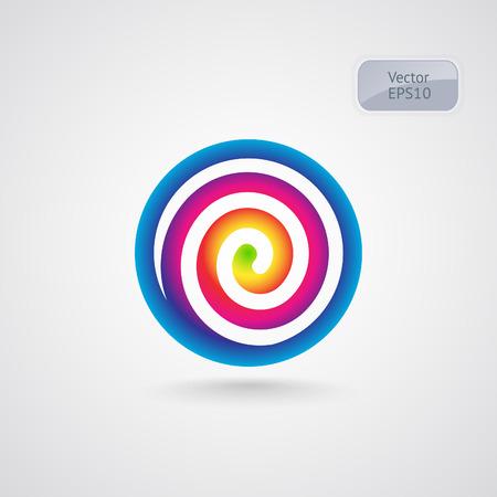 rainbow circle: Lollipop spectrum spiral logo. Rainbow circle vector sign. Illustration
