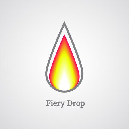 fiery: Fiery drop logo. Vector fire icon illustration.