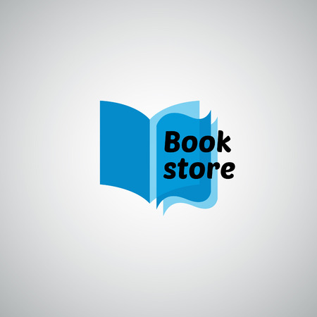 book pages: Open book logo. Blue icon vector illustration.