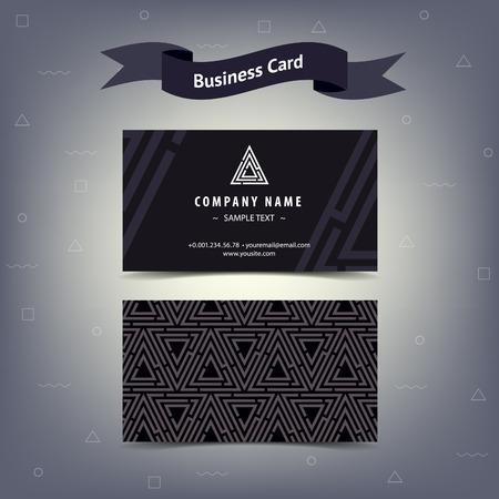 logos de empresas: Concepto de la tarjeta de visita con el logotipo y el patrón de laberinto laberinto. Ilustración vectorial monocromo. Vectores