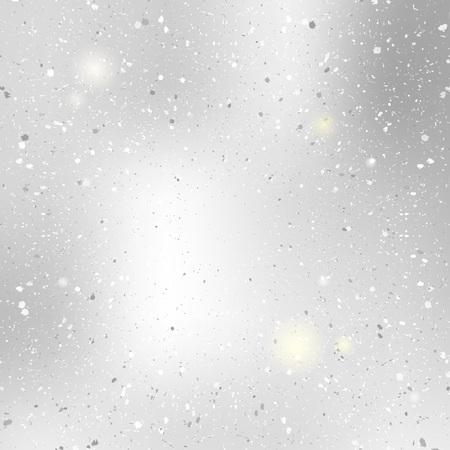 polvo: Borrosa fondo del brillo argent con el bokeh. Modelo abstracto de la nieve de plata.