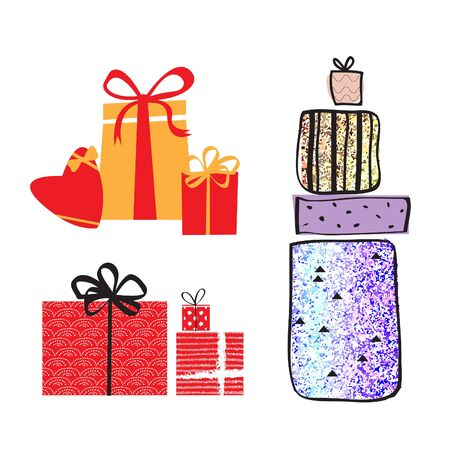 donative: Set of colorful bright shiny vector gift boxes with bows and ribbons. Isolated vector illustration.