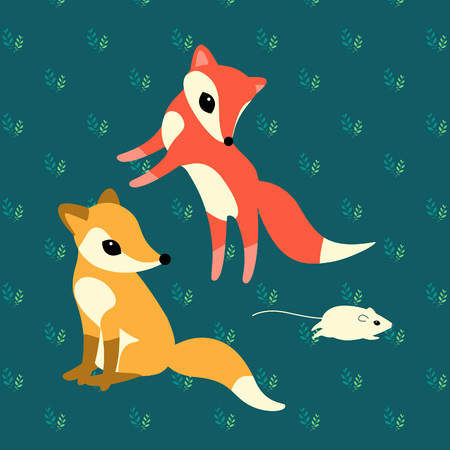 two little foxes playing with a mouse on graan background