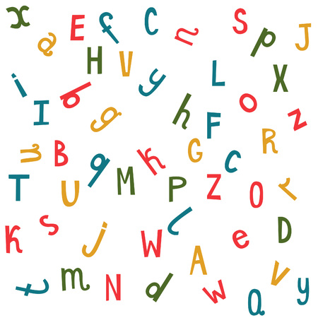 distributed: Colorful seamless pattern with randomly distributed english letters. Vector funny  background.