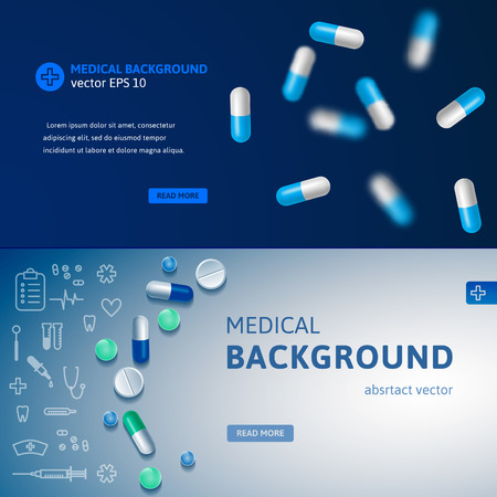 medical abstract: Set of blue medical banners with pills and medicine symbols. Realistic vector backgrounds for websites and advertisement. Illustration