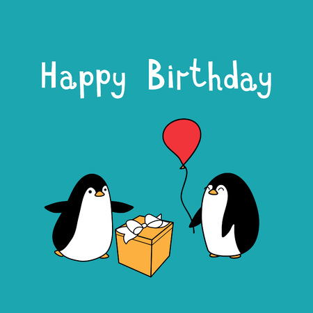 children party: Two funny penguins greetings and give balloon and gift box with bow. Vector Happy Birthday card. Illustration