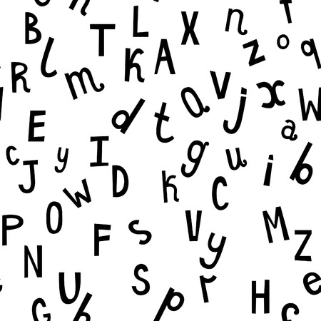 distributed: Laconic stylish monochrome seamless pattern with randomly distributed black english letters. Hand drawn alphabet vector background.