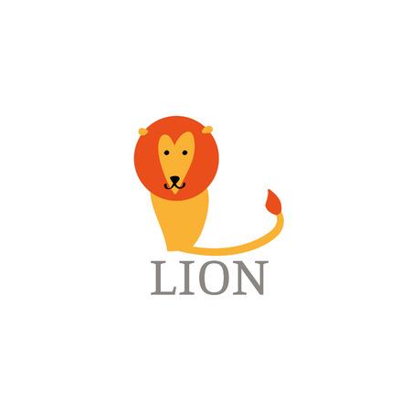mane: Cartoon doodle yellow lion with orange mane logo. Vector big cat icon illustration.