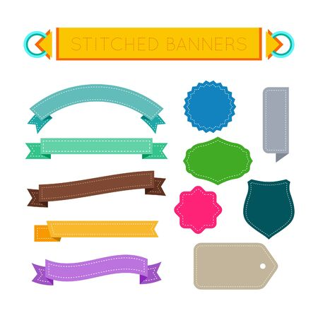 stitched: Stitched banners, ribbons, labels and tags colorful set. Vector design elements.