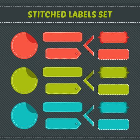 stitched: Stitched labels colorful set for websites and banners. Vector design elements.