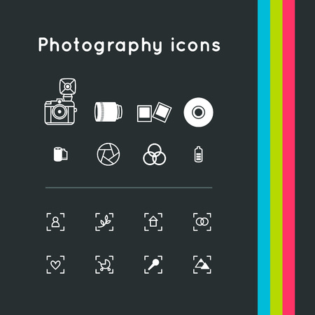 viewfinder: Photography outline simple icons set. Vector symbol illustrations.