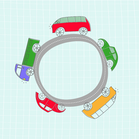 cars on road: Set of cute cartoon cars on gray circle road. Vector frame Illustration