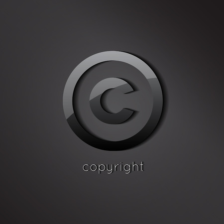 copyright symbol: Black glossy copyright vector symbol. C letter business icon.