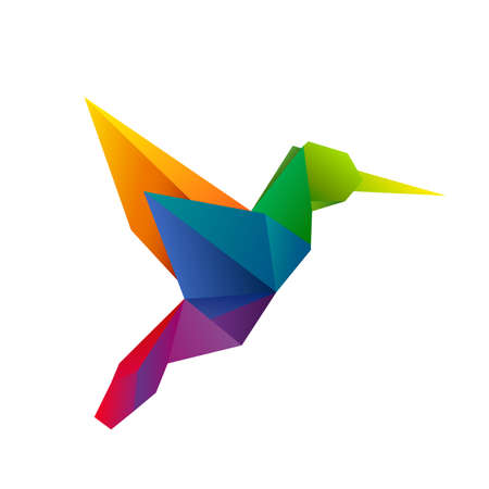 logo design: Polygonal rainbow vector hummingbird. Colorful geometric symbol for logos and icons