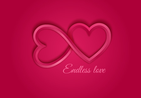 Red endless love symbol. Two 3d hearts. Valentines day stock vector illustration.