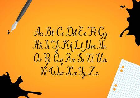 original: Hand drawn ink english alphabet. Black  letters set. Vector font.