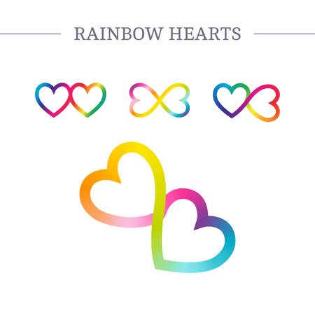 love hearts: Spectrum endless love logos set. Rainbow hearts vector symbols. Illustration