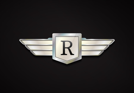 cromo: Emblema cromado con alas. Vector de la insignia del coche 3d.