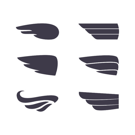 wings icon: Set of vector silhouettes wings. Elements for logo, labels and badges designs.