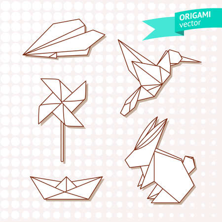 origami paper: Origami vector set with polygonal paper whirligig, airplane, boat, hare and bird