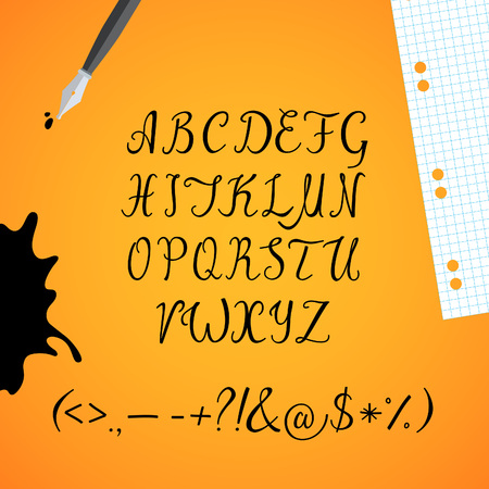 original: Set of the black imitation ink capital letters with punctuation marks. Vector font.