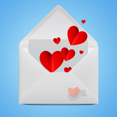 White realistic open envelope with red paper hearts. Vector illustration with postal stamp on Valentine's day. Çizim