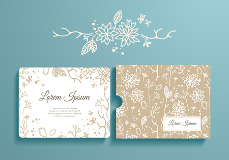 Floral set of romantic invitation and envelope. Template card and envelope for wedding, marriage, bridal, birthday, Valentine's day. Vector isolated collection.