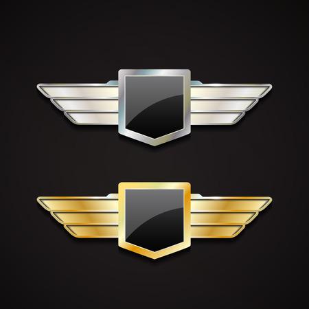 cromo: Conjunto de oro y plata emblemas con alas. Vector logo 3d con el escudo brillante.