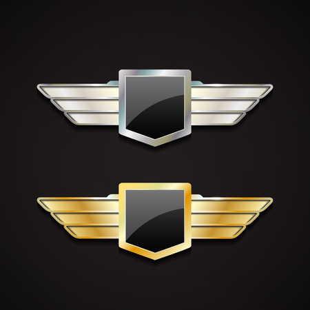 Set of gold and silver emblems with wings. 3d  vector logo with glossy shield.