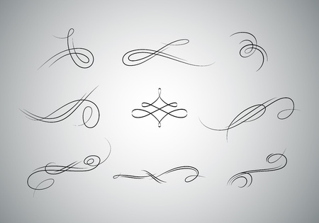 forms: Beautiful  vector decorative elements and ornaments for web or book pages and greeting cards. Vintage flourishes set. Illustration