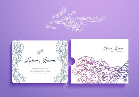 marriage invitation: Beautiful set of romantic invitation and envelope with feathers. Vector isolated collection.Template card and envelope for wedding, marriage, bridal, birthday, Valentines day. Illustration