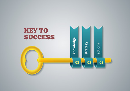 option key: Key to success illustration. Business steps infographic concept. Template vector for layout, banners, diagrams or web design.