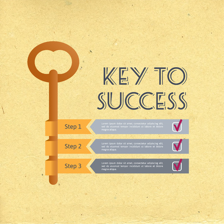 key to success: Infographic business concept with key, arrows, steps and check marks. Retro vector illustration. Illustration