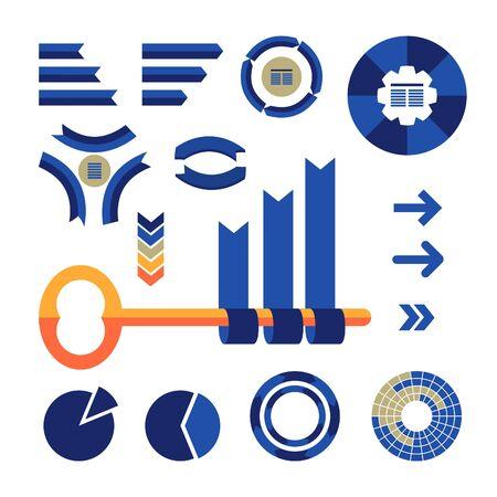 graficas de pastel: Infografías coloridas conjunto con gráficos circulares, flechas, cintas, diagramas y clave. Vector plana para la visualización de sus análisis.