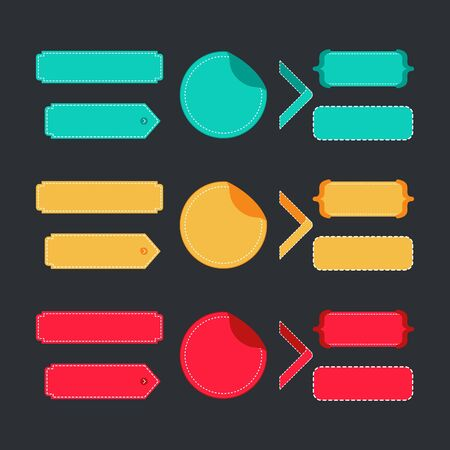 Bright colorful set of stitched labels. Vector elements for banners, layout and websites. Illustration