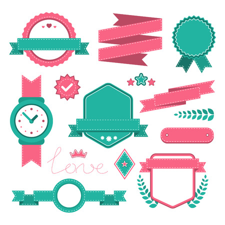 stitched: Set of colorful stitched elements such as labels, ribbons, laurels, and awards. Vector flat collection for websites,banners and layout. Illustration