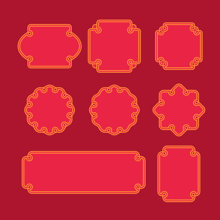 chinese border: Set of oriental frames, emblems and badges. Abstract asian backgrounds template. Vintage line graphic design vector.