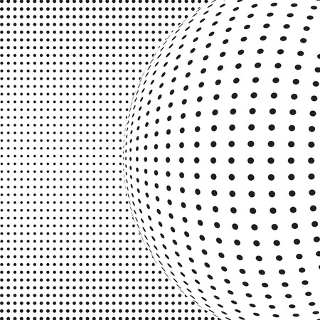 illusion: Monochrome halftone background with illusion of sphere. Abstract dotted vector illusion.