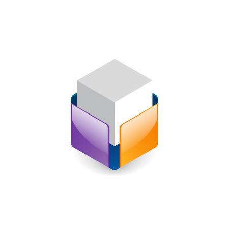safeness: White cube in colorful box. Abstract glossy logo design.