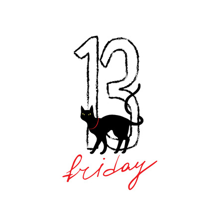 halloween: Friday 13th grunge illustration with numerals and black cat. Vector superstition mystic simbol.
