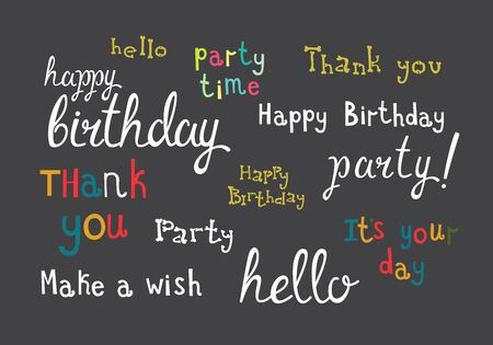 children birthday: Set of freehand phrases and quotes on parties and celebrations. Holidays colorful vector lettering