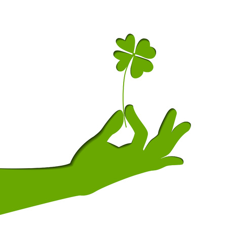 verdant: Silhouette of hand, holding four-leaf clover. Green paper illustration. Vector art on Patricks day. Illustration