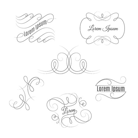 twiddle: Set of beautiful vintage flourishes. Vector outline elegant frames and elements.