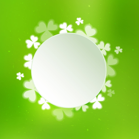patric banner: Abstract green background with clovers. Vector holiday illustration on St. Patricks day. Illustration