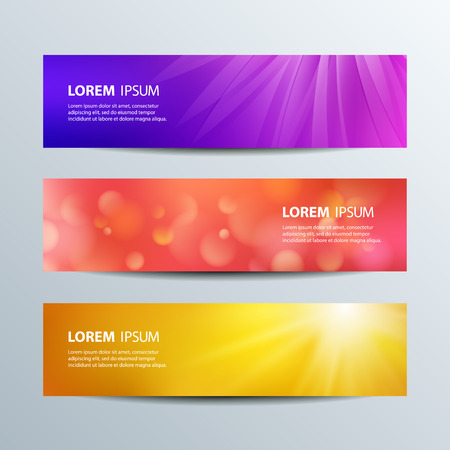 blank  banner: Set of colorful abstract shiny and blurred banners with bokeh. Vector template backgrounds.